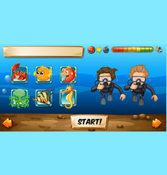 Game template with divers and fish vector