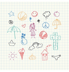 Summer doodles set vector