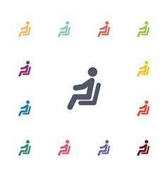 Seating man flat icons set vector