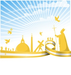 Vatican city flag on background vector