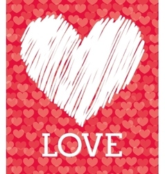 Romantic love design with red hearts vector