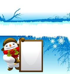 Snowman with message board vector