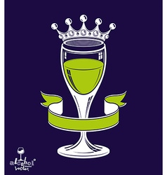Royal goblet of wine with 3d imperial crown vector