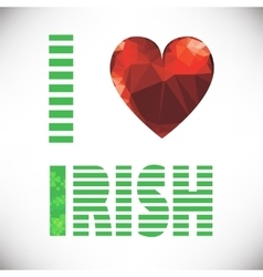Polygonal red glass heart st patricks day vector