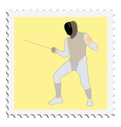 Stamp with image of fencing vector
