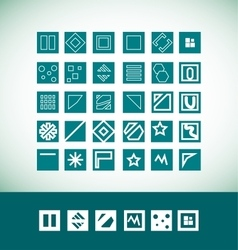 Simple flat geometric icon set vector