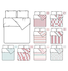 Bedding and linen template sample patterns vector