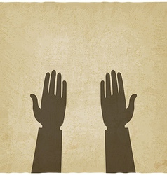 Prayer hands symbol old background vector