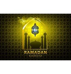 Ramadan kareem greeting card glowing gold arabic vector