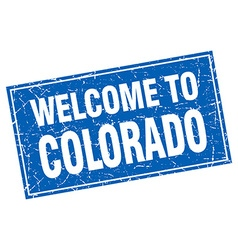 Colorado blue square grunge welcome to stamp vector
