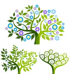 abstract tree with flowers set vector image vector image