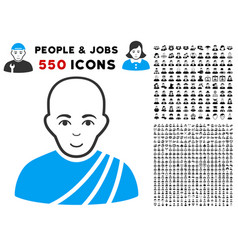 buddhist monk icon with bonus vector image vector image