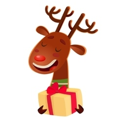 Cartoon cute christmas deer holding a gift box vector
