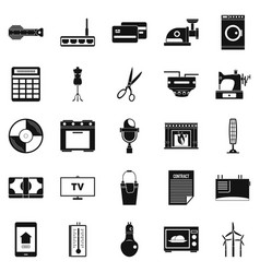 Computer staff icons set simple style vector