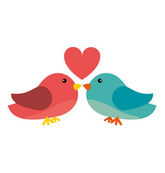 Couple bird heart loveling vector