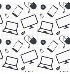 Devices seamless pattern Notebook smartphone vector image