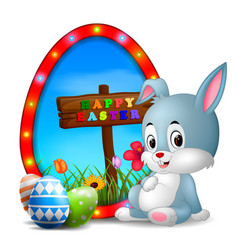 easter bunny and eggs with frame egg vector image