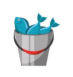 fishing bucket with fishs vector image
