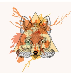 Fox face with bread in triangle frame with vector