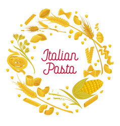 Italian pasta and wheat durum cereal flour vector