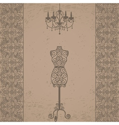Mannequin and chandelier with lace border vector