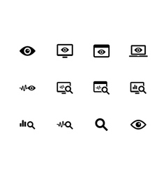 Monitoring icons on white background vector image