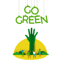 people with paper cut tree for environment help vector image