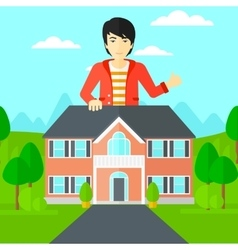 Real estate agent showing thumb up vector image