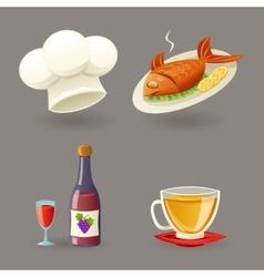 Restaurant Icons and Symbols Set Retro Cartoon vector image vector image