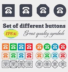 retro telephone handset icon sign Big set of vector image