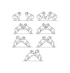 Rikishi sumo wrestlers wrestling mono line vector