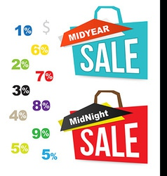 Sale bag icons with number percent for midnight vector