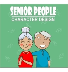 senior couple hugging and smiling vector image