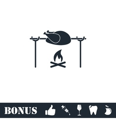 Skewer Chicken icon flat vector image