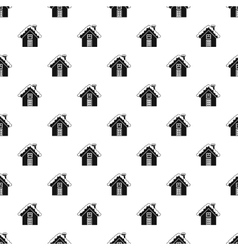 Snowy cottage pattern simple style vector