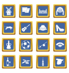 Spain travel icons set blue vector