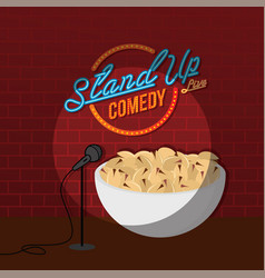 Stand up comedy open mic pistachio nut vector