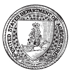 The seal of the department of agriculture of the vector