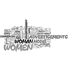 Women in advertisements text word cloud concept vector
