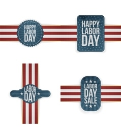 Labor day realistic textile labels set vector