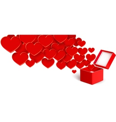Open box with flying hearts vector
