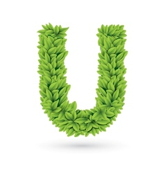 Letter of green leaves with shadow vector image