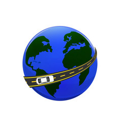Traveling by car the globe the road the car vector