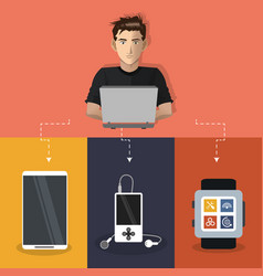 internet things man working laptop mp3 smart watch vector image