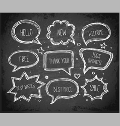 Hand-drawn speech and thought bubbles hand drawn vector