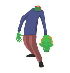 zombie without head icon cartoon style vector image