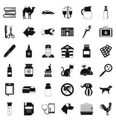 Veterinary illness icons set simple style vector