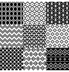 Seamless pixel patterns set vector image