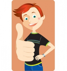 Boy with thumb up vector