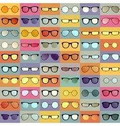 Glasses pattern on color backround vector